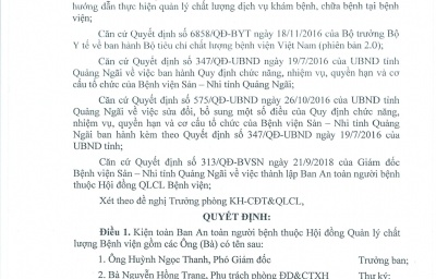Quyết định V/v kiện toàn Ban An toàn người bệnh thuộc Hội đồng Quảng lý chất lượng Bệnh viện Sản-Nhi tỉnh Quảng Ngãi